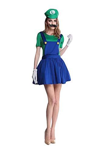 thematys Super Mario Luigi Mütze + Kleid + Bart +...