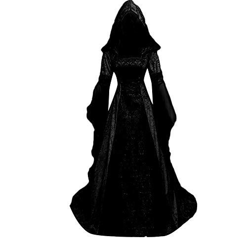 MYMYG Damen Langarm mit Kapuze Mittelalter Kleid...