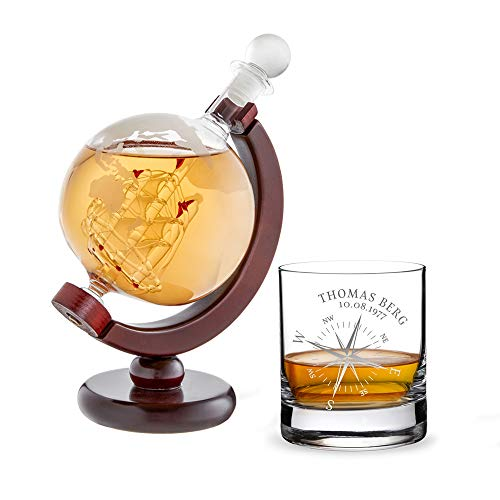 AMAVEL Whiskykaraffe Globus mit innenliegendem...