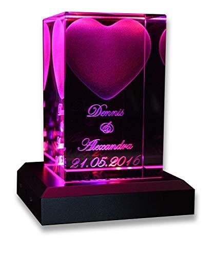VIP-LASER 3D Glas Kristall Quader XL Herz mit Zwei...
