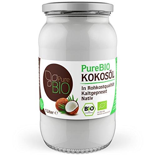 PureBIO Kokosöl 1000ml (1L) für HAARE, HAUT und...