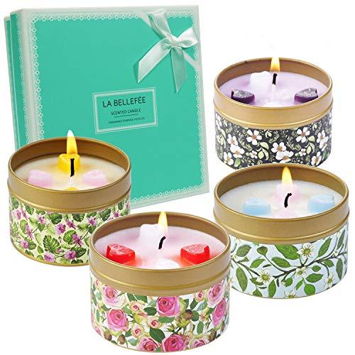 LA BELLEFÉE Duftkerze Sojawachs Kerze Blume Duft...