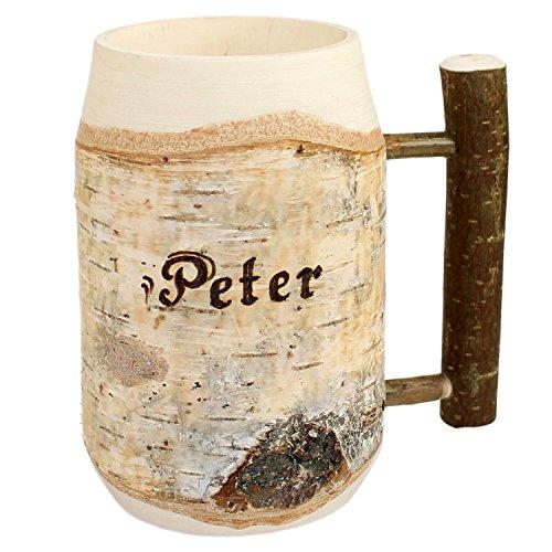 Holz Bierkrug mit Gravur - personalisiert mit Name...