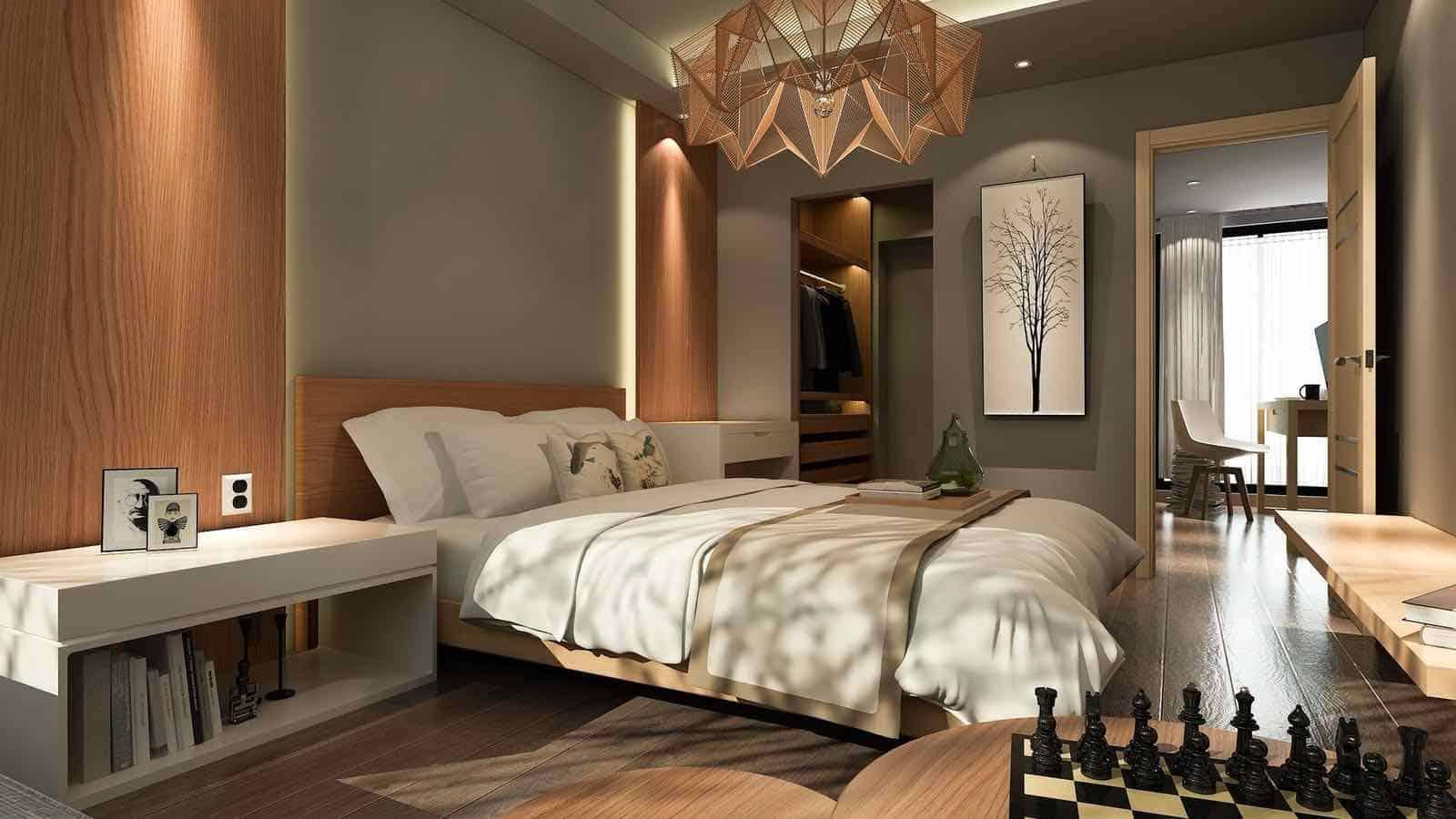 Romantisches Schlafzimmer Im Holz Stil